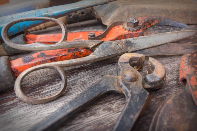 rusted gardening tools