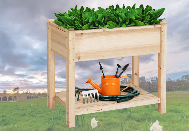YAHEETECH Wooden Elevated Planter Box