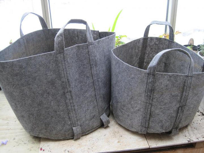 root pouch Grey Thick Fabric bag